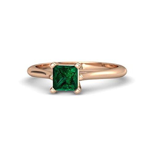 RS JEWELS Damen -  925 Sterling-Silber  Sterling-Silber 925     Émeraude  (Gold-emerald-cut-ringe Rose)