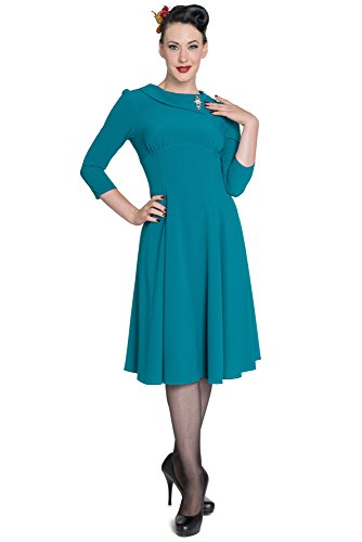 Hell Bunny dell'abito BENITA DRESS 4402 verde petrolio Small