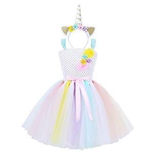 YiZYiF Disfraz Unicornio Niñas Vestido