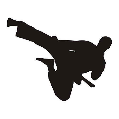 jiushizq Kunstwandaufkleber Flying Kick Man Silhouette Abnehmbare Wandaufkleber Martial Vinyl Wandtattoos Dekor Martial Arts Museum Z 53x42cm -