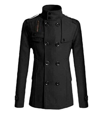 CuteRose Men Slim Double-Breasted Woolen Jacket Trim-Fit Business Trench Coat Black L -