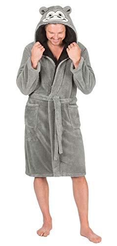 Hommes À Capuche Blottir Peignoir Robe De Chambre Polaire Avec Salon Chaussette - gris Singe, Medium
