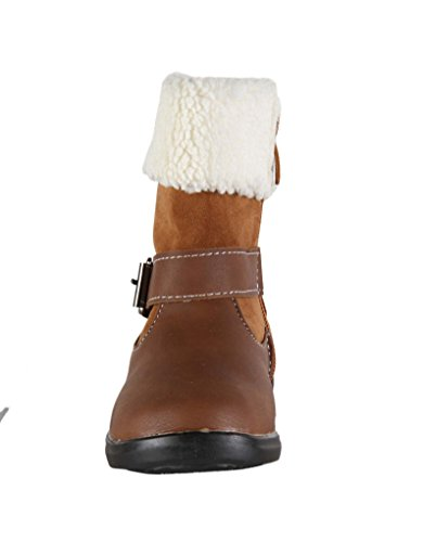 Bottines avec bord imitation fourrure - fille Marron