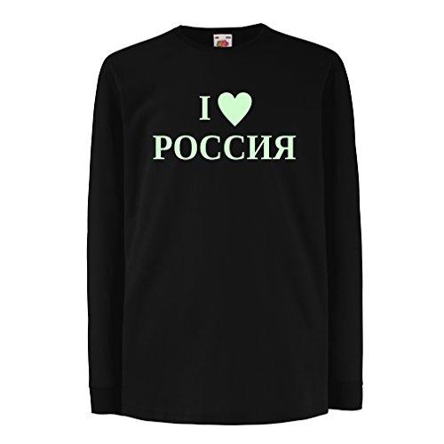 lepni.me Kinder-T-Shirt mit langen Ärmeln Ich liebe Russland, Moskau, politisch, Россия, Russisch (12-13 years Schwarz Fluoreszierend) (Zombies, Liebe Ärmel Lange)