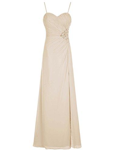 Bbonlinedress Robe de cérémonie Robe de demoiselle d'honneur col en cœur bretelles spaghetti longueur ras du sol Champagne