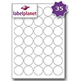 35 Per Page/Sheet, 5 Sheets (175 ROUND Sticky Labels), Label Planet® White Blank Matt Self-Adhesive A4 Circular Circle Price Pricing Stickers, Printable With Laser or Inkjet Printer, UK LP35/37R, 37MM Diameter Circles, FOR JAM FREE PRINTING