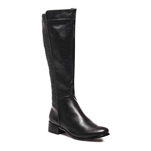 La Modeuse - Bottes aspect cuir femme Noir