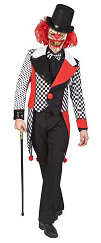 orror Clown Kostüm Herren Damen Horror Narr Kostüm schwarz weiß rot Halloween Erwachsene-Kostüm Größe 48/50 ()