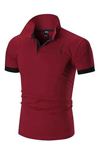 Ycheng elegante polo da uomo basic manica corta ricamo giraffa tennis golf maglietta t-shirt (l, rosso)