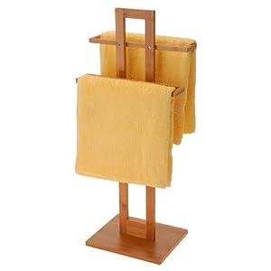 Relaxdays – Toallero de pie Hecho de bambú con Medidas 37 x 25 x 85 cm 2 Barras para el Cuarto de baño, Color Natural