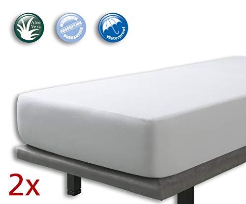 Velfont - 2er Set Wasserdicht Matratzenschoner 90 x 200 cm/Matratzenauflage mit Aloe Vera behandelt, Atmungsaktiv - Verfügbar in verschiedenen Größen