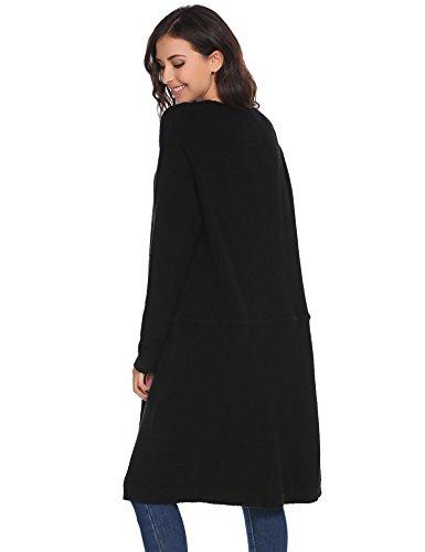 Meaneor Damen Longstrickjacke Damen Cardigan lang Strickmantel mit offenem V-Ausschnitt Bindegürtel Schwarz