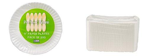 Teller 9-300Pappteller weiß, 22,9cm (300Stück), 300ct Paper Plates & 500ct White Napkins, 800 ()