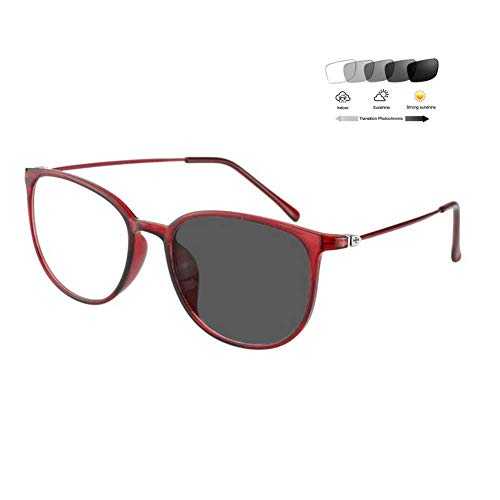 HQMGLASSES Photochrome Lesebrille Männer Frauen Mode Retro Vollrand Brillengestell 1,56 Asphärisches Optische Linse Sonnenleser UV400 Blendschutz (+ 1,00 bis + 3,00 Dioptrien),01,+100