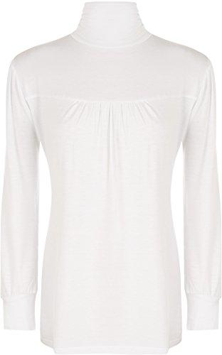 WearAll - Haut ruché à manches longues avec un col roulé - Hauts - Femmes - Grandes tailles 40 à 58 Blanc