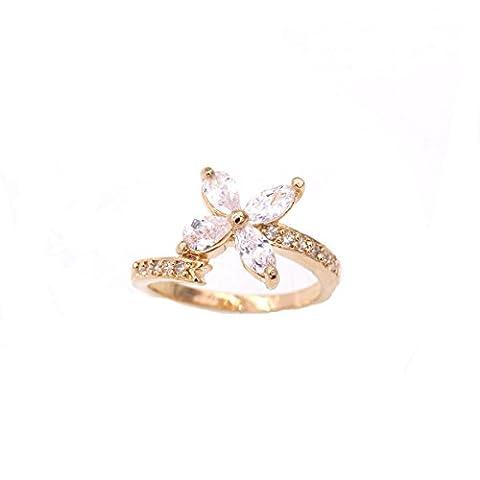 LOVE STUDIO,bijoux pour femmes, anneaux à doigts Bagues à fleurs à quatre feuilles anneaux de fiançailles AAA Zircon Fashion Chain Rings 18K plaqué or (Ring Size 5)
