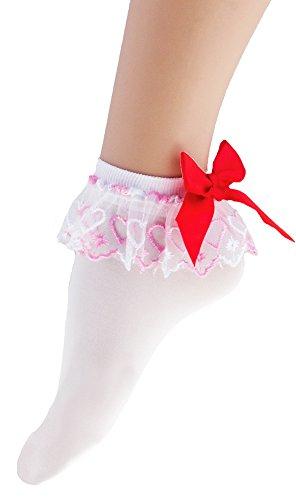 Weiße Strümpfe mit Rüschen und roter Schleife für Damen - Söckchen zum 50er 60er Jahre Retro (Jahren Outfits Den In 60er)