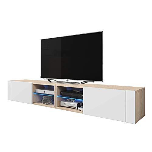 Selsey Élégant 2 Double TV Meuble Moderne avec LED bleu (Sonoma mat / blanc brilliant)