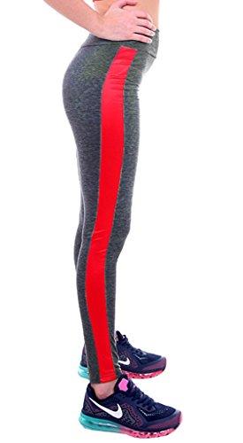 Smile YKK Legging Sculptant Femme Pantalon Yoga Jogging Running Sport Casual Amincissant Gris Rouge Léger