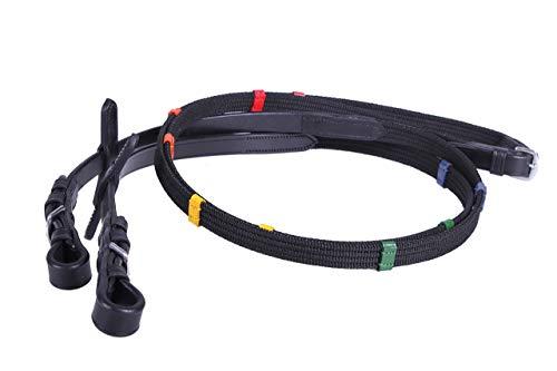 QHP Zügel Gurtzügel Pferdezügel Reitzügel farbige Stege schwarz ARBO-INOX® (Pony)