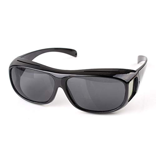QINCH Home Outdoor Wrap Around Sonnenbrille HD Night Vision Fit über verschreibungspflichtigem Eyestrain Black