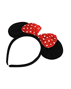 Zac's Alter Ego� Red Polka Dot Bow on Mouse Ears Headband for Adults/ Children