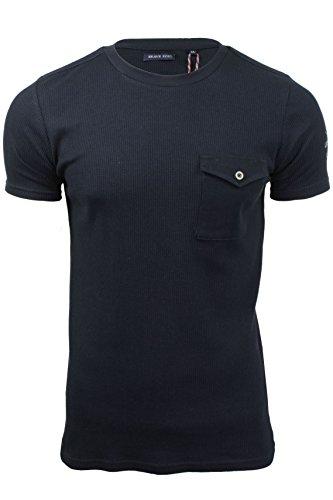 Herren Waffeldruck T-Shirt von Brave Soul kurzärmlig Marine