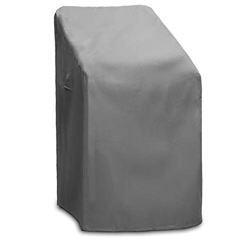 Groeneck - Abdeckung für Gartenstühle, Wasserdicht & Winterfest, Oxford 600D, Mit Zugkordel & Befestigungsclips, 70x70x125cm für bis zu 4 Stühle, grau