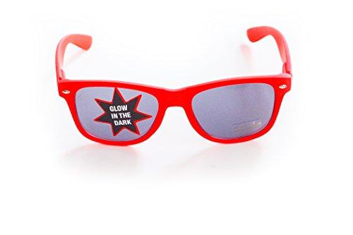 Wayfarer Nerd-Brille Sonnen-Brille leuchtend Rot ohne Sehstärke 15cm Herren Damen Unisex...