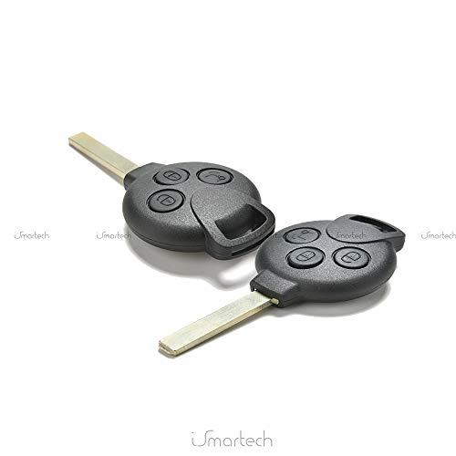 Vinciann SM4 Coque rigide pour clé-plip à 3 boutons, pour Smart Fortwo 450/451, K, Roadster, City Coupé/Cabriolet, Forfour, Crossblade