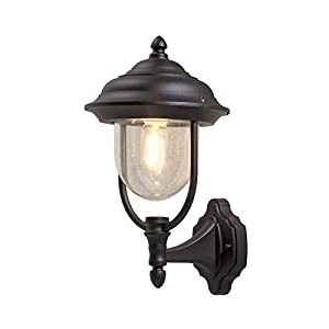 Konstsmide 7223-750 Parma Up Outdoor Wall Light / 1 x 75 W E27 Max Wall Lamp / Clear Acrylic Globe / Aluminium / IP43 / Outside Light Matt Black
