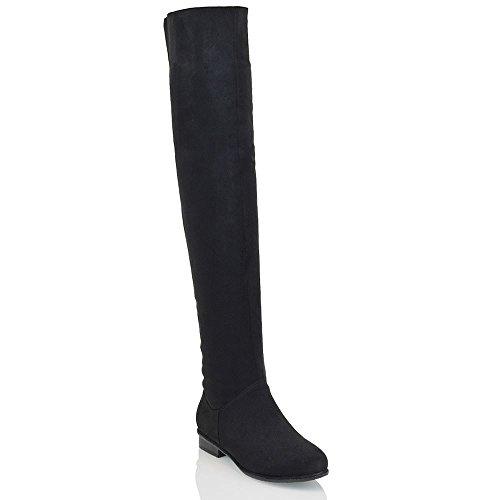 Frauen Uberknie mit Niedrigen Absatz Schwarz Wildlederimitat Stiefeln EU 38 (Lange Stiefel)