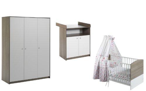 Schardt Kinderzimmer Classic-Line Wildeiche bestehend aus Kombi-Kinderbett und 3-türigem Kleiderschrank