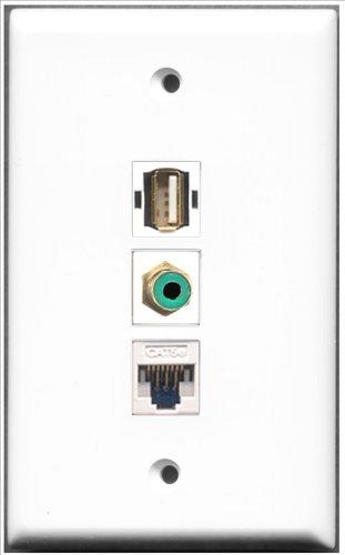 RiteAV-1Port RCA grün und 1Port USB A-A + 1Port Cat5e Ethernet weiß Wall Plate Rca Modular Wall Outlet