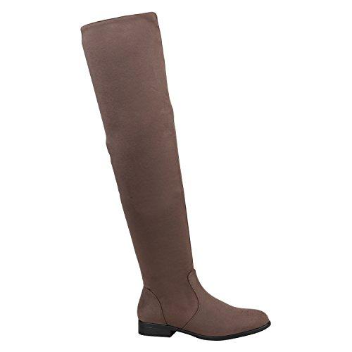 Stiefelparadies Damen Stiefel Overknees Wildleder-Optik Leicht Gefütterte Schuhe 151553 Grau Agueda Velours 37 Flandell