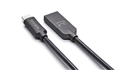 Lightning Kabel, Rocco London 3,3ft/1M MFI verwicklungsfreies Metall Durable Zink Legierung 8Pin Lightning auf USB Kabel mit LED-Licht Sync Daten & Fast Ladekabel für iPhone 7/7Plus, iPhone 6/6S/6PLUS/6S Plus, iPhone 5/5S/5C/SE, iPad Mini 234Air iPod und andere mehr Geräte, (Space Grey)