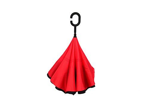 MYC Yi Lian inverso pieghevole doppio strato invertito Umbrella anti-UV e ombrelloni e la pioggia con le mani a forma di C-libera della maniglia, le migliori compatto da viaggio Ombrello per l'auto (big Red)