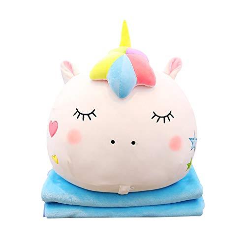 1 Plüschtiere Kuscheltier mit Super Weiche Fleece Decke Plüsch Spielzeug Niedlich Plüschfigur Geschenk (Weiß Geschlossene Augen) ()