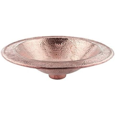 Lavabo de fregadero o cuarto de baño de cobre rojo Ovalado grande hecho a mano marroquí - , martillado y grabado- Longitud49 ancho 39 altura16