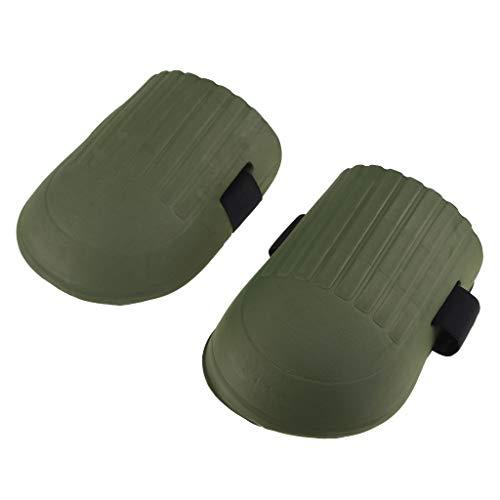 Homyl Knieschoner Knieschützer mit strapazierfähigen Doppelriemen und verstellbarem Verschluss für Gartenarbeit Renovierungsarbeiten - Armeegrün