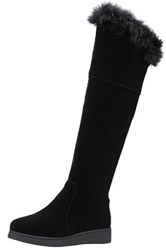 BIGTREE Warm Lang Stiefel Damen Faux Wildleder Pelz Schwarz Reißverschluss Herbst Winter Elegant Knie Stiefel 37 EU -