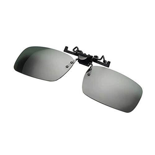 LIOOBO Polarisierter Clip auf Sonnenbrillen Unisex Frameless Flip Up Clip auf Sonnenbrillen Brillen Nachtsichtbrillen Grau Größe L