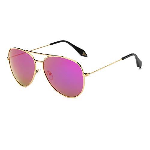 ZSHHG Mode Bunte Spiegel Polarisierte Herren Sonnenbrille Victoria Sonnenbrille Reflektierende Sonnenbrille Frauen Zustrom Goldrahmen Rosa Lila 148 * 132 * 52 Mm