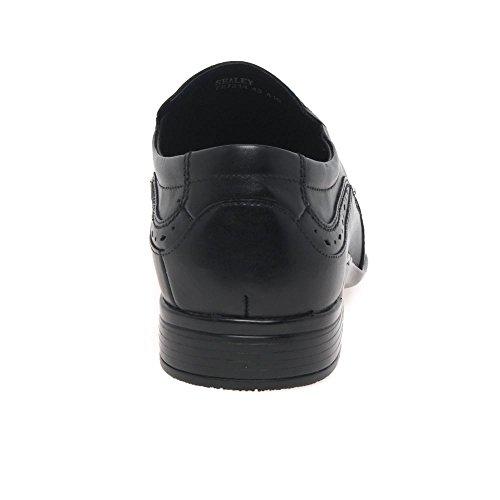 Front SEALEY Mens Formale Slip-On Schuhe Schwarz