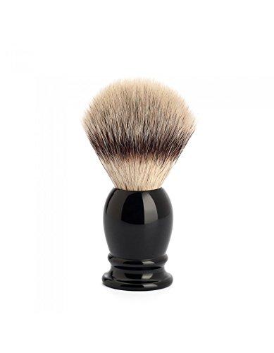 MÜHLE Blaireau de rasage CLASSIC M à pointe argentée avec manche en résine précieuse Noir