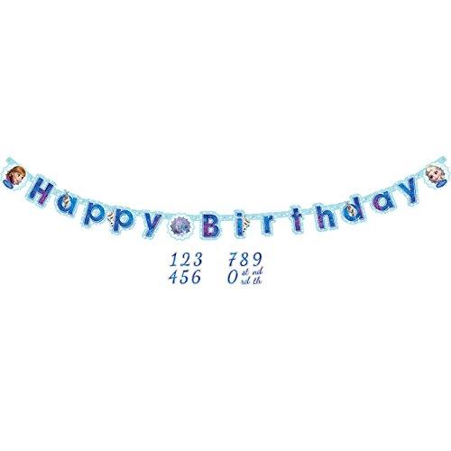 PARTY DISCOUNT ® Neu Girlande Happy Birthday Frozen, 160x13 cm (Happy Frozen Birthday)