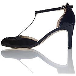FIND Merceditas de Tacón Para Mujer, Negro (Black), 39 EU
