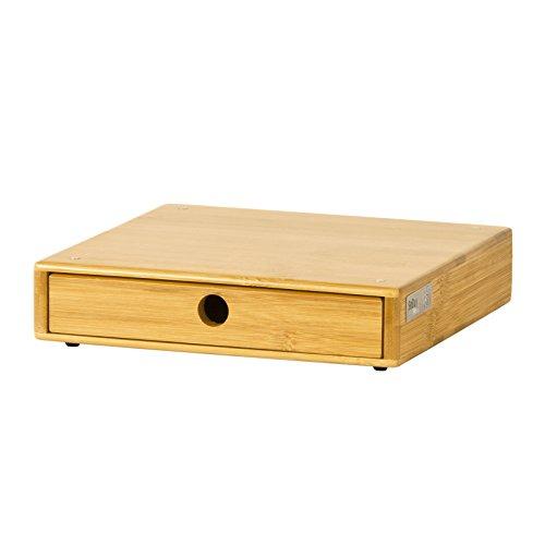 Sobuy® portacapsule, contenitore per capsule caffé, bustine tè, con piedini anti-scivolo, in bambù,frg84-n, it