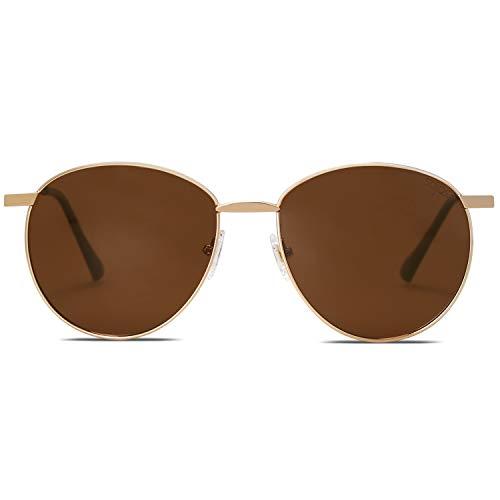 SOJOS Schick Metall Runde Sonnenbrille Damen Herren Verspiegelt DEWDROP (C6 Gold Rahmen/Braun Linse)