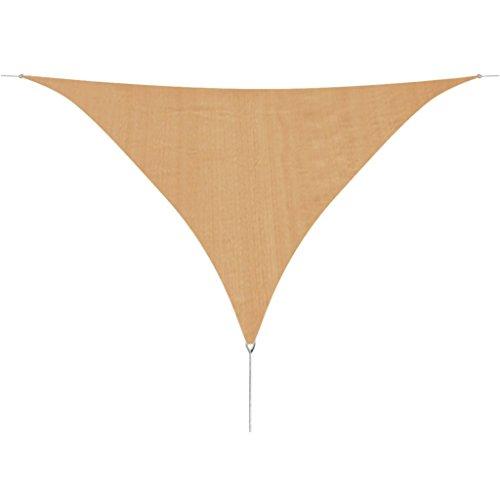 Festnight Toile Solaire Parasol Triangle 5x5x5m PEHD Beige pour Jardin Terrasse Balcon